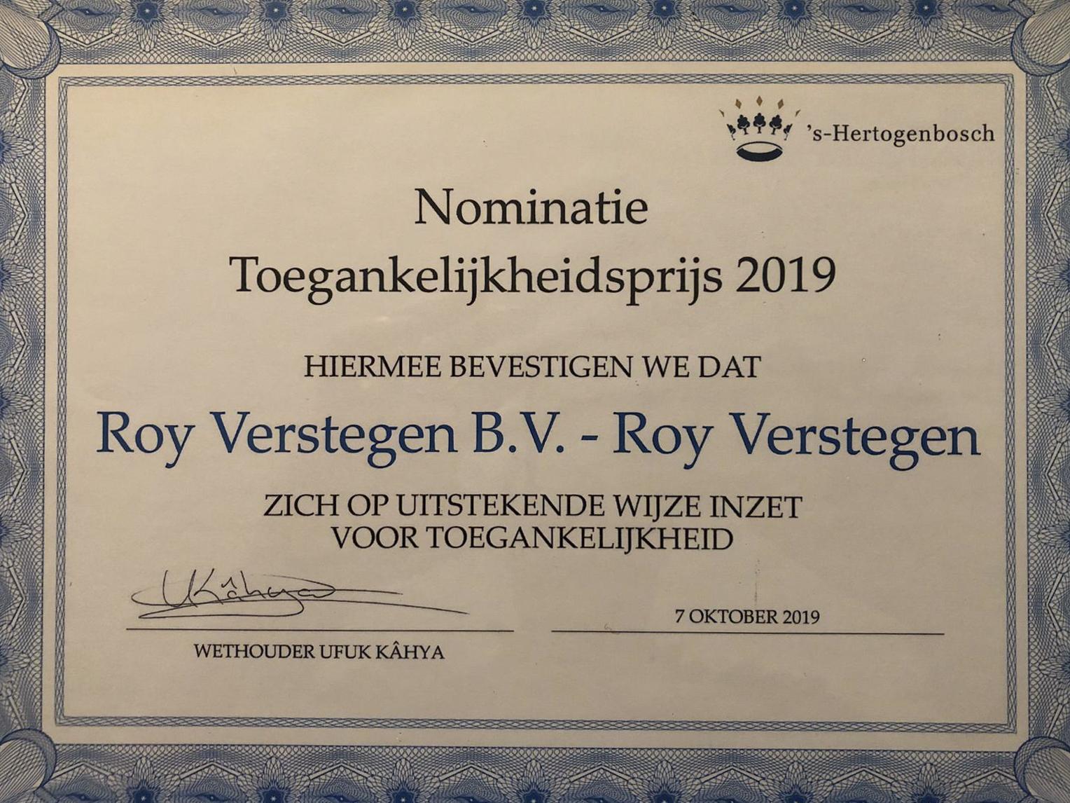Nominatie toegankelijkheidsprijs 2019 's-Hertogenbosch